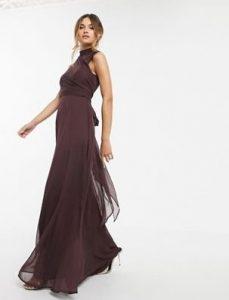 καφέ μάξι φόρεμα