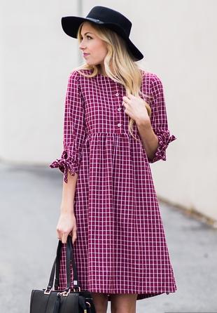 Καρό φόρεμα μοβ