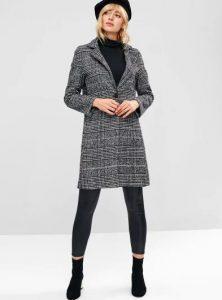 καρό γκρι παλτό μπουφάν