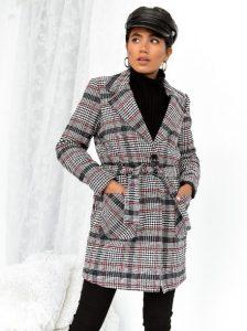 καρό παλτό γκρι