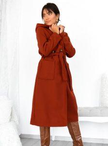 μακρύ κεραμιδί παλτό γυναικεία πανωφόρια χειμώνα