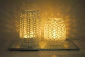 κεριά με crochet