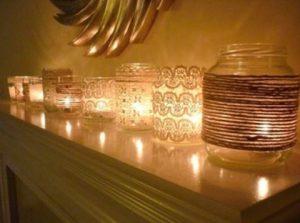 κεριά με δαντέλα