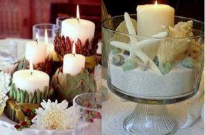 κεριά με καλοκαιρινά διακοσμητικά
