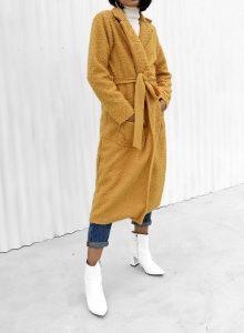 κίτρινο μάλλινο μακρύ παλτό