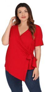 κόκκινη ασύμμετρη κρουαζέ μπλούζα