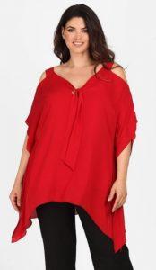 κόκκινη ασύμμετρη μπλούζα έξω ώμους