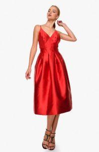 κόκκινο φόρεμα midi τιράντα