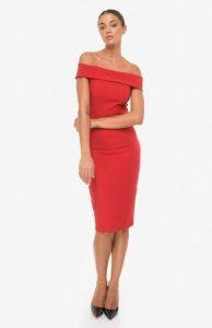 κόκκινο pencil φόρεμα zini χειμώνα
