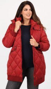 κόκκινο plus size γυναικείο μπουφάν με κουκούλα