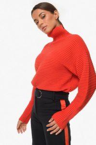 κόκκινο ζιβάγκο πλεκτή μπλούζα zini χειμώνα