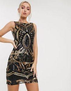 κολλητό μαύρο-χρυσό φόρεμα