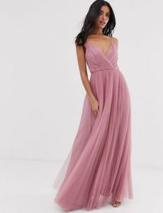κουφετί μακρύ φόρεμα