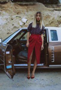 κρουαζέ κόκκινη μακριά φούστα