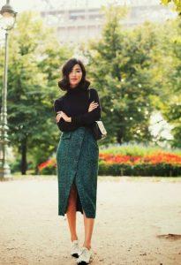 κρουαζέ πράσινη φούστα μαύρη ζιβάγκο μπλούζα