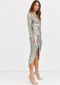 λαμέ ασημένιο φόρεμα