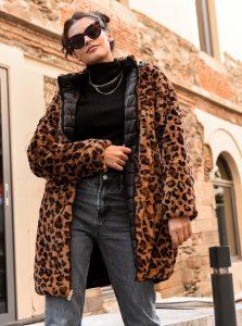 λεοπάρ γούνα μακριά γυναικεία πανωφόρια χειμώνα