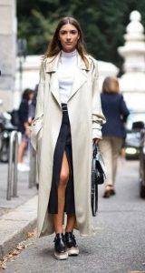 λευκή γυναικεία καμπαρντίνα ντύσιμο φθινόπωρο χειμώνας