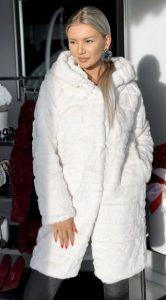 λευκή μακριά γούνα parizianista
