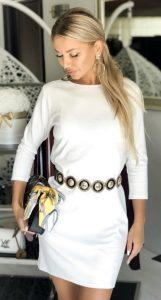 λευκό μίνι χειμωνιάτικο φόρεμα