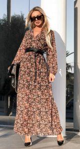 μακρυμάνικο floral φόρεμα ediva.gr