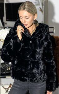 μαύρη γούνα με φερμουάρ parizianista