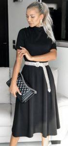 μαύρο φθινοπωρινό φόρεμα Α γραμμή