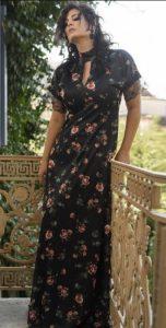 maxi floral φορέματα χειμώνας 2020