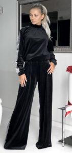μαύρο βελουτέ γυναικείο παντελόνι με ρίγα