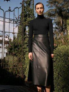 δερμάτινη μαύρη leather skirt μακρια