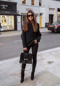 μαύρο τζιν παντελόνι total black look
