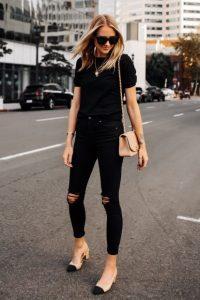 μαύρο τζιν παντελόνι σκισίματα γόνατο