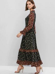 πουά μακρύ φόρεμα μαύρο καφέ