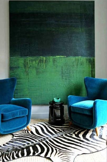 μεγάλος πίνακας σαλόνι μπλε πράσινος