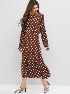 καφέ μίντι φόρεμα πουά ρούχα για όλες τις ώρες