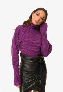 μοβ κοντή πλεκτή μπλούζα