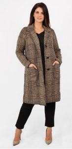μπεζ μακρύ καρό παλτό