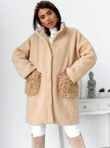 μπεζ παλτό γούνα
