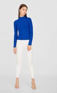 έντονο μπλε πουλόβερ stradivarus χειμώνα