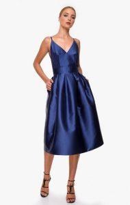 μπλε midi φόρεμα zini χειμώνα