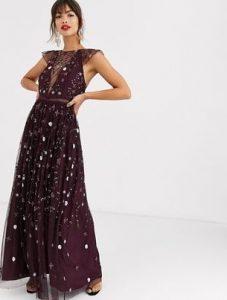 μπορντώ μάξι φόρεμα
