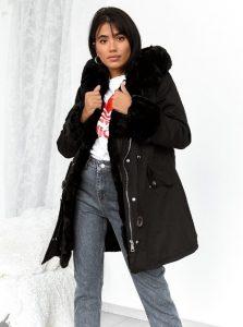 μπουφάν μαύρο γούνα γυναικεία πανωφόρια χειμώνα