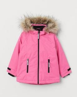 παιδικό ροζ μπουφάν με γουνάκι κουκούλα