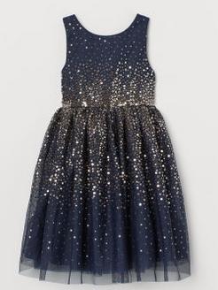 Παιδικό φόρεμα με τούλι μπλε χρυσό