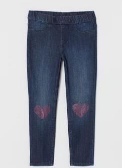 Παιδικό παντελόνι τζιν με καρδούλες