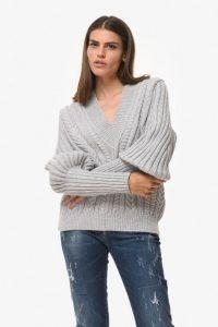 γκρι πλεκτό πουλόβερ zini χειμώνα