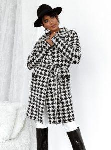 πλεκτό παλτό ασπρόμαυρο γυναικεία πανωφόρια χειμώνα