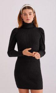 πλεκτό μαύρο ζιβάγκο φόρεμα