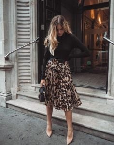 πλισέ λεοπάρ φούστα ζιβάγκο μαύρη μπλούζα