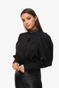 πουκάμισο στρας μακρυμάνικο μαύρο